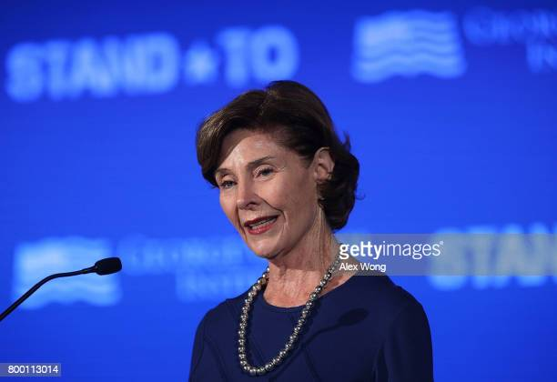 Former US first lady Laura Bush speaks during a conference at the US Chamber of Commerce June 23 2017 in Washington DC The George W Bush Institute...