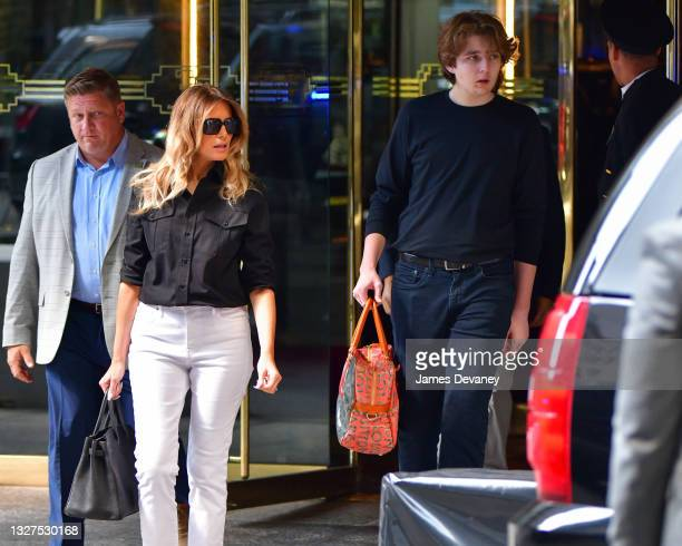 Former U.S. First Lady Melania Trump and son Barron Trump leave Trump Tower in Manhattan on July 07, 2021 in New York City.