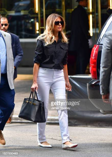 Former U.S. First Lady Melania Trump leaves Trump Tower in Manhattan on July 07, 2021 in New York City.