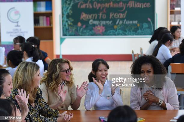 Former US First Lady Michelle Obama , actress Julia Roberts and Jenna Bush Hager meet Vietnamese students in Can Giuoc district, Long An province on...