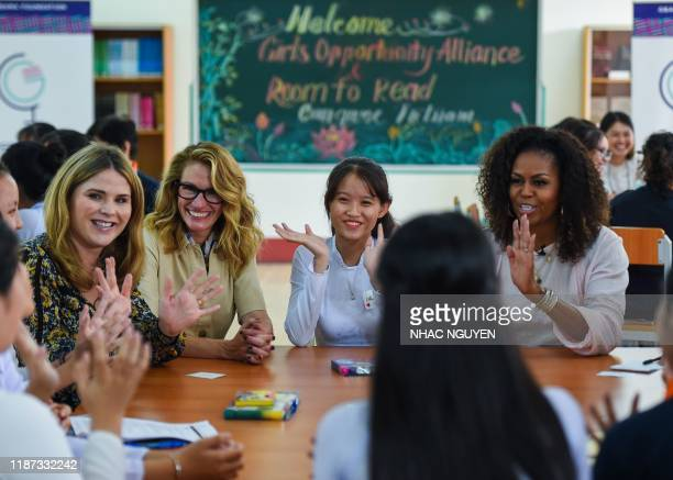 Former US First Lady Michelle Obama , actress Julia Roberts and Jenna Bush Hager , daughter of former US president George W. Bush meet Vietnamese...