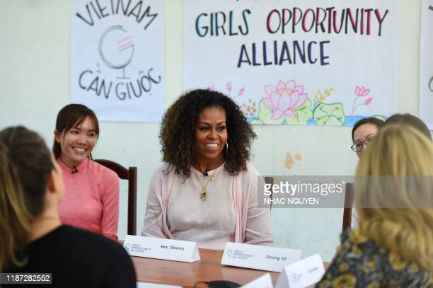 Former US First Lady Michelle Obama meets Vietnamese students in Can Giuoc district, Long An province on December 9, 2019. - Michelle Obama and Julia...