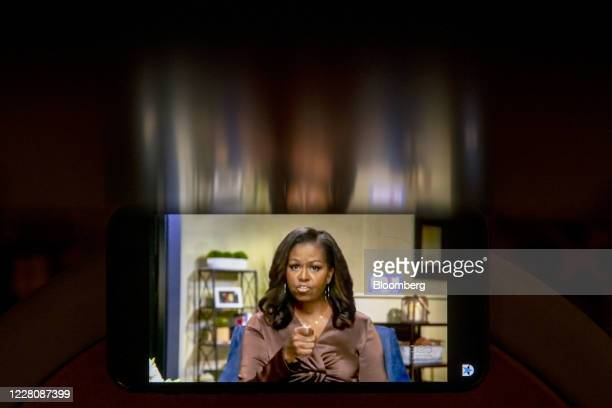 Former U.S. First Lady Michelle Obama speaks during the virtual Democratic National Convention seen on an App iPhone in Tiskilwa, Illinois, U.S., on...