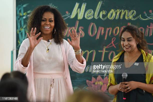 Former US First Lady Michelle Obama speaks to Vietnamese students in Can Giuoc district, Long An province on December 9, 2019. - Michelle Obama and...