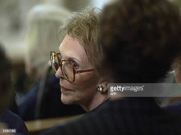 Former US first lady Nancy Reagan listens to the mass at St. Charles Borromeo Catholic Church during a memorial service paying tribute to late the...