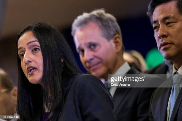 Former U.S. Justice Department official Vanita Gupta speaks as New York Attorney General Eric Schneiderman and Steve Choi, executive director of the...