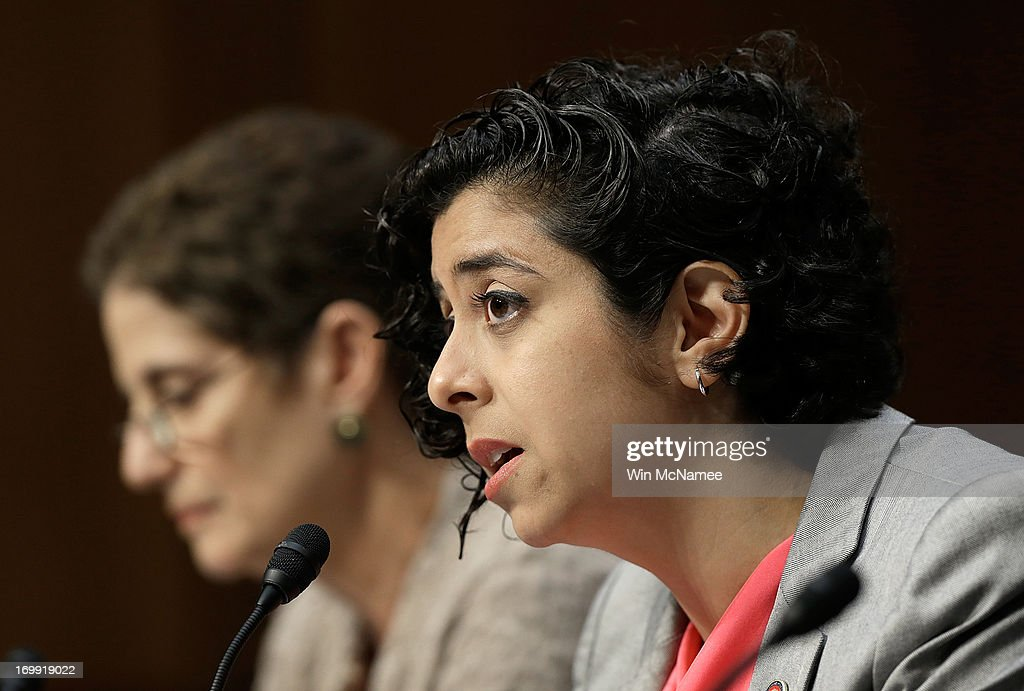 Former U.S. Marine Anu Bhagwati (R), executive director and co-founder of the Service Women's Action Network, testifies before the Senate Armed Services Committee with Nancy Parrish, president of Protect Our Defenders (L) on pending legislation regarding sexual assaults in the military June 4, 2013 in Washington, DC. A recent survey of active duty personnel by the Pentagon revealed that 6.1 percent of women and 1.2 percent of men reported receiving Òunwanted sexual contactÓ in the past year.