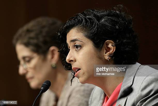 Former US Marine Anu Bhagwati executive director and cofounder of the Service Women's Action Network testifies before the Senate Armed Services...