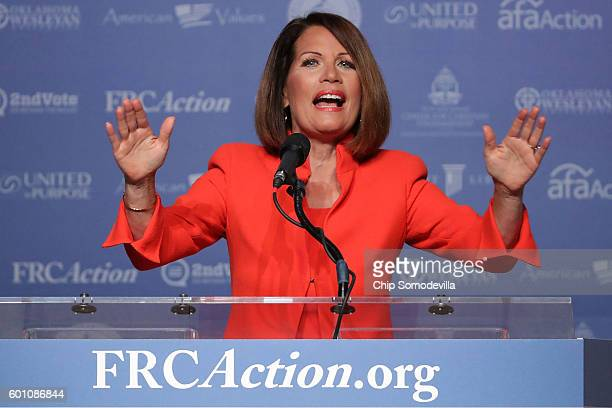 Former U.S. Member of congress Michele Bachmann addresses the Values Voter Summit at the Omni Shoreham September 9, 2016 in Washington, DC. Hosted by...