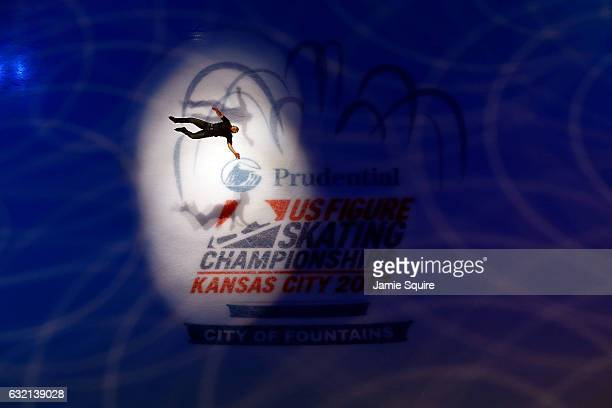 Former US National Champion Ryan Bradley performs a backflip during the Opening Ceremony ahead of the 2017 U.S. Figure Skating Championships at the...