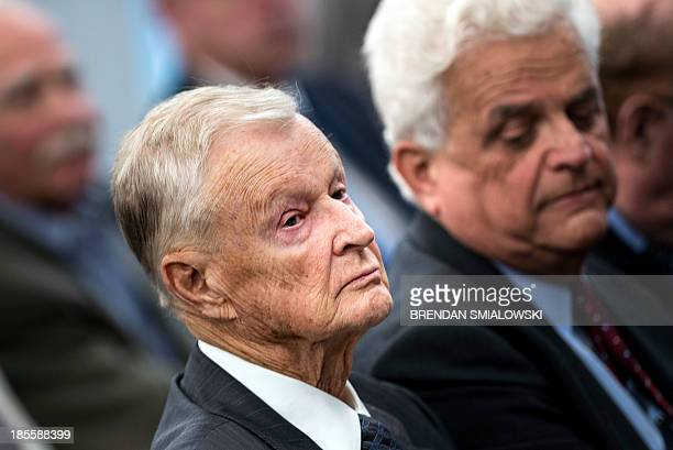 Former US National Security Adviser Zbigniew Brzezinski listens during a forum discussion at the Johns Hopkins University School of Advanced...