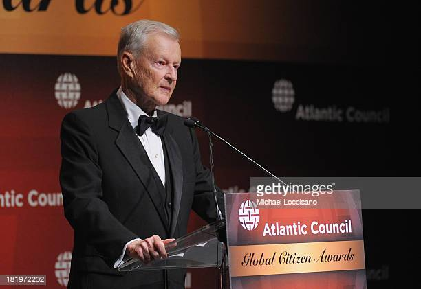 Former US National Security Advisor Dr Zbigniew Brzezinski addresses the audience during the 2013 Global Citizen Awards Ceremony on September 26 2013...