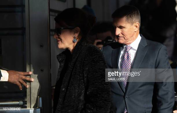 Former US National Security Advisor General Michael Flynn arrives for his sentencing hearing at US District Court in Washington DC December 18 2018