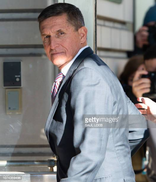 Former US National Security Advisor General Michael Flynn arrives for his sentencing hearing at US District Court in Washington DC on December 18 2018