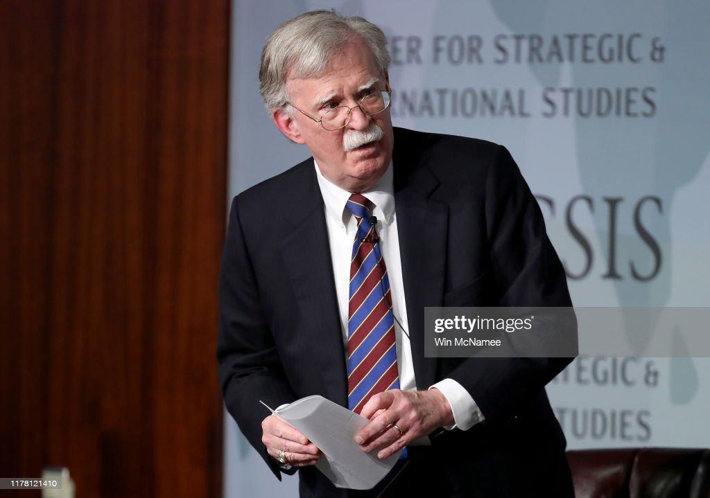 Former National Security Advisor John Bolton Delivers Keynote Address At CSIS Forum : News Photo