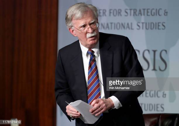 Former U.S. National Security Advisor John Bolton appears at the Center for Strategic and International Studies before delivering remarks September...