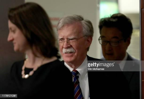 Former US National Security Advisor John Bolton arrives at the Center for Strategic and International Studies before delivering remarks September 30...