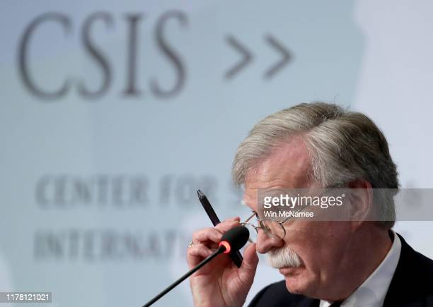 Former US National Security Advisor John Bolton speaks at the Center for Strategic and International Studies September 30 2019 in Washington DC...