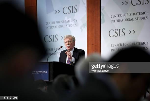 Former US National Security Advisor John Bolton speaks at the Center for Strategic and International Studies September 30 2019 in Washington DC...