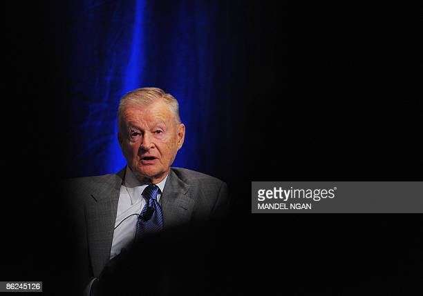 Former US national security advisor Zbigniew Brzezinski speaks during a forum on US and Saudi relations April 27 2009 at a hotel in Washington DC AFP...