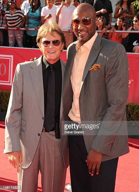 Former US Olympian Bruce Jenner and NBA player Lamar Odom of the Los Angeles Clippers arrive at the 2012 ESPY Awards at Nokia Theatre LA Live on July...