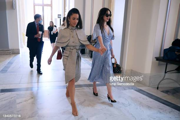 Former U.S. Olympic gymnasts Aly Raisman and McKayla Maroney arrive for a news conference in the Russell Senate Office Building after testifying...