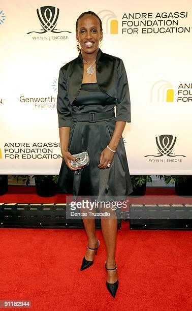 Former U.S. Olympic track and field athlete Jackie Joyner-Kersee arrives at the 14th annual Andre Agassi Foundation for Education's Grand Slam for...