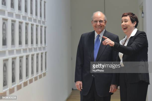 Former US peace envoy to Northern Ireland George Mitchell with the artist Amanda Dunsmore during a photocall ahead of a major speech on the Good...