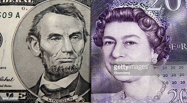 Former U.S. President Aabraham Lincoln appears on a five dollar note, arranged next to a portrait of Queen Elizabeth II on a British twenty pound...
