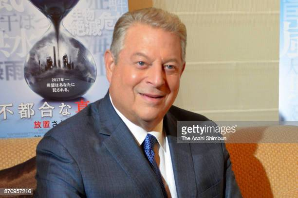 Former US President Al Gore speaks during the Asahi Shimbun interview on November 2 2017 in Tokyo Japan