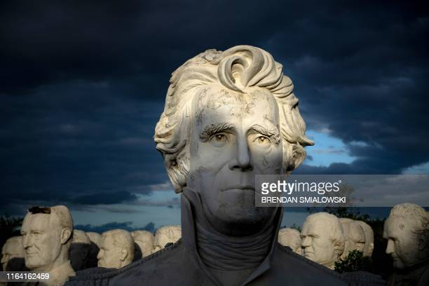 TOPSHOT Former US President Andrew Jackson can be seen with other salvaged busts of former US Presidents at a mulching business where they now reside...