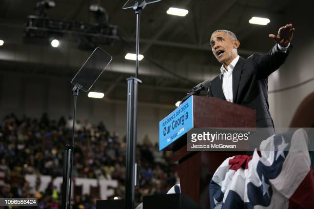 Former US President Barack Obama addresses the crowd in support of Georgia Democratic Gubernatorial candidate Stacey Abrams during a campaign rally...