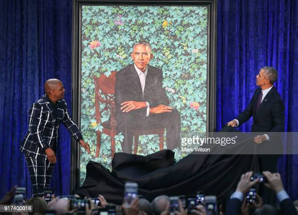 Former US President Barack Obama and artist Kehinde Wiley unveil his portrait during a ceremony at the Smithsonian's National Portrait Gallery on...