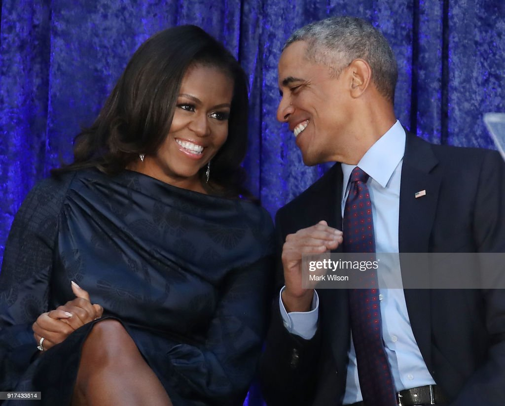 Barack And Michelle Obama Attend Portrait Unveiling At Nat'l Portrait Gallery : News Photo