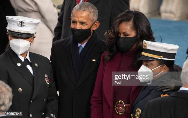 Former US President Barack Obama and Former US First Lady Michelle Obama arrive for the 59th Presidential Inauguration at the U.S. Capitol on January...