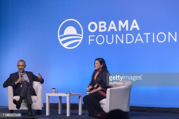 Former US President Barack Obama and his halfsister Maya Soetorong speak at an Obama Foundation event in Kuala Lumpur Malaysia 13 December 2019 Obama...