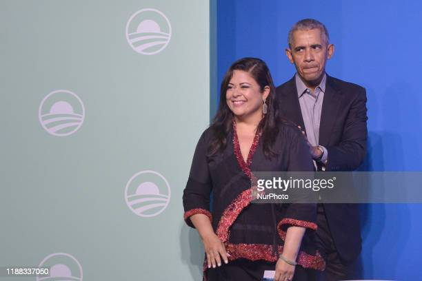 Former US President Barack Obama and his halfsister Maya Soetorong attend an Obama Foundation event in Kuala Lumpur Malaysia 13 December 2019 Obama...