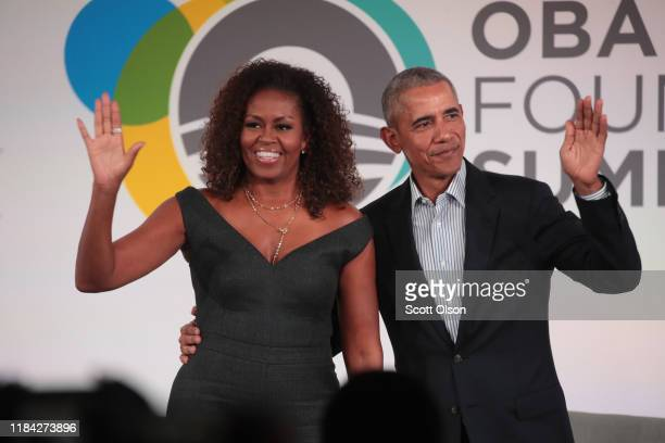 Former US President Barack Obama and his wife Michelle close the Obama Foundation Summit together on the campus of the Illinois Institute of...