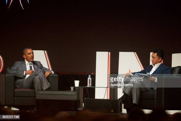 Former US President Barack Obama and Indonesian Diplomat Dino Patti Djalal attend a panel during the 4th Congress of the Indonesian Diaspora in...
