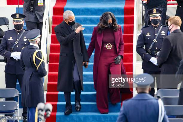 Former U.S. President Barack Obama and Michelle Obama at the inauguration of U.S. President-elect Joe Biden on the West Front of the U.S. Capitol on...