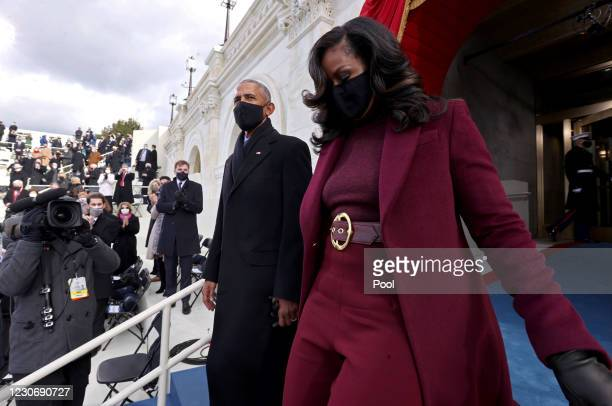 Former U.S. President Barack Obama and wife Michelle Obama arrive for the inauguration of U.S. President-elect Joe Biden on the West Front of the...