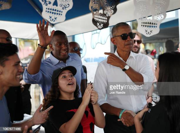 Former US President Barack Obama arrives for lunch with Florida Democratic governor candidate Andrew Gillum at the Coyo Taco restaurant on November...
