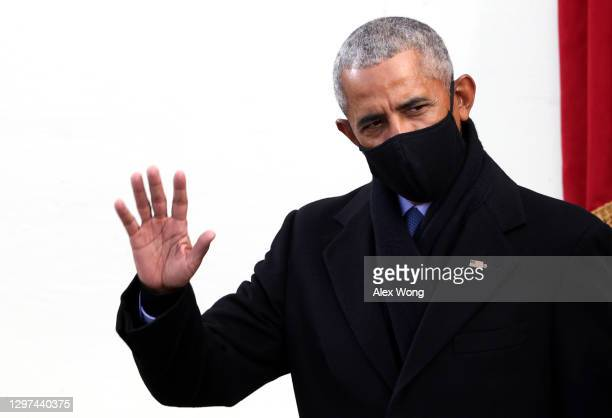 Former U.S. President Barack Obama arrives to the inauguration of U.S. President-elect Joe Biden on the West Front of the U.S. Capitol on January 20,...