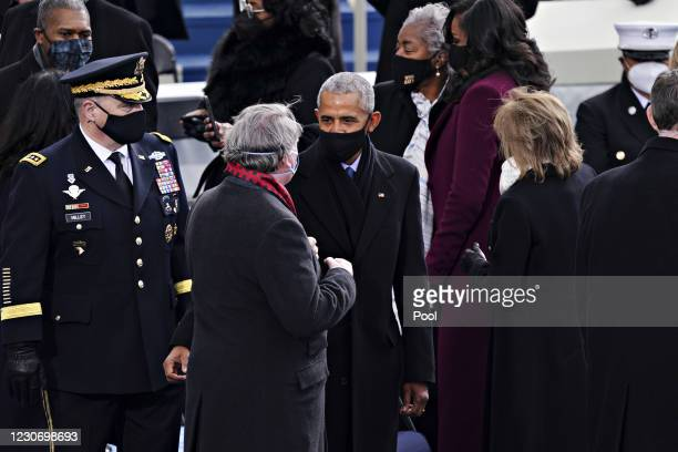 Former U.S. President Barack Obama attends the inauguration on the West Front of the U.S. Capitol on January 20, 2021 in Washington, DC. During...