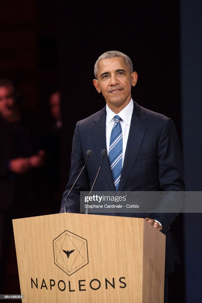 Former U.S. President Barack Obama attends the Introductory Session To The 7th Summit of Les Napoleons at Maison de la Radio on December 2, 2017 in Paris, France.