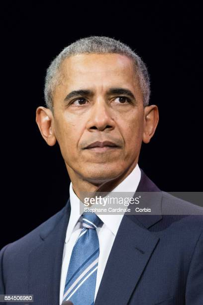 Former U.S. President Barack Obama attends the Introductory Session To The 7th Summit of Les Napoleons at Maison de la Radio on December 2, 2017 in...