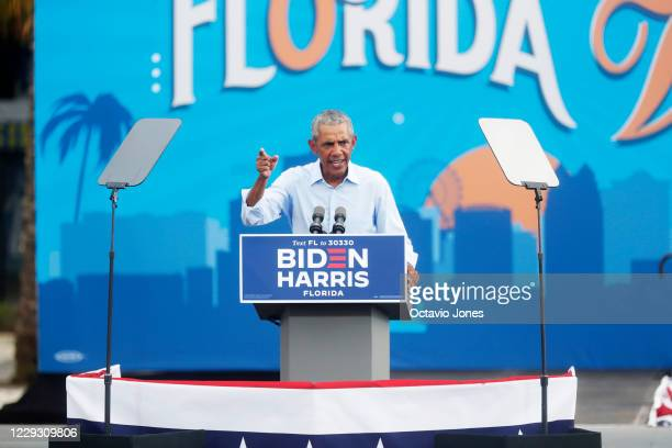 Former US President Barack Obama campaigns for Democratic presidential nominee Joe Biden at Camping World Stadium on October 27 2020 in Orlando...