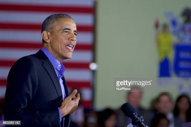 Former US President Barack Obama campaigns for New Jersey Democratic gubernatorial candidate Phil Murphy in Newark New Jersey on October 19 2017