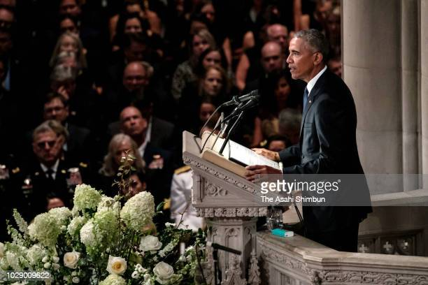 Former US President Barack Obama delivers a eulogy during the funeral for US Sen John McCain at the National Cathedral on September 1 2018 in...