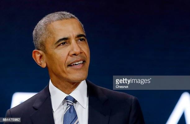 Former US President Barack Obama delivers a speech during the 7th summit of Les Napoleons at Maison de la Radio on December 2 2017 in Paris France...
